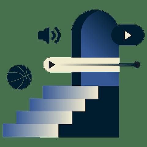 무제한 대역폭을 설명하는 스트리밍 아이콘과 문으로 향하는 계단 Fluffernutter 스타일 일러스트레이션