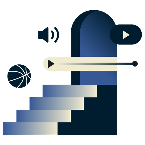 Unlimited bandwidth for streaming. Staircase with basketball, play button, and volume.