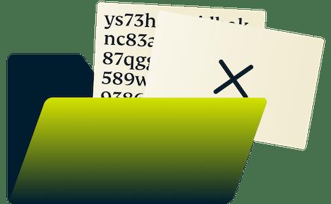 Secured files inside a Manila folder.