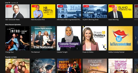 CBC Gem offers the best news, sports, and entertainment programming from Canada