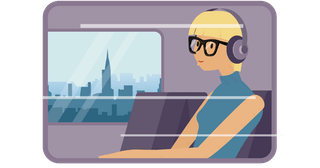 Spotify user listening on a train.