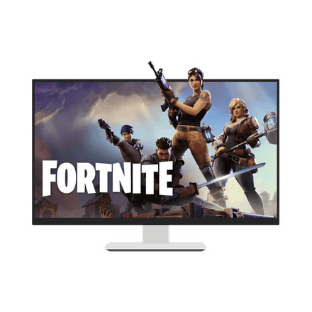 Fortnite på en computerskærm.