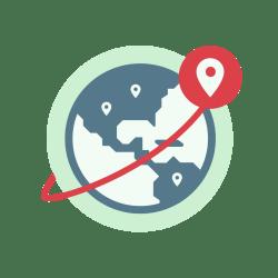 ลูกโลกแสดงตำแหน่งเซิร์ฟเวอร์ VPN