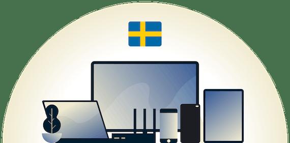 VPN de Suecia protegiendo una variedad de dispositivos.