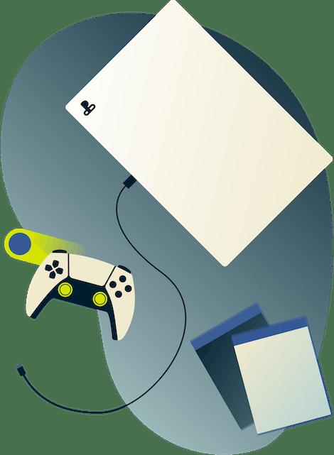 PS4 spillkonsoll og håndkontroll.
