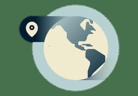 Use uma VPN em qualquer lugar do globo, incluindo as Américas do Norte e do Sul.