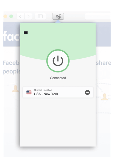 To use ExpressVPN in Safari, just click the button in the toolbar.