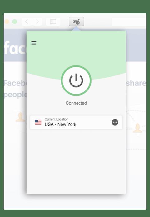 Aby użyć ExpressVPN w Safari, kliknij w przycisk w pasku narzędzi.