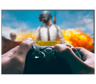 Playing PUBG with Xbox on a TV.