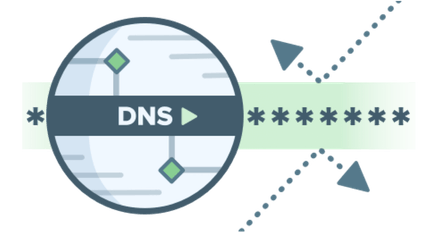 Circular green DNS logo representing private DNS with third parties.