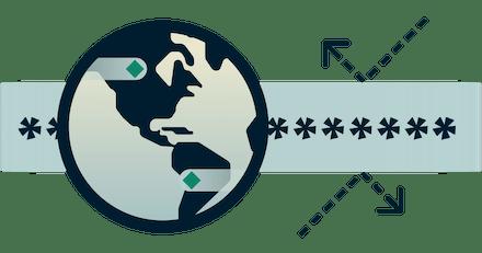 Logo DNS vert et circulaire représentant le DNS privé avec les parties tierces.