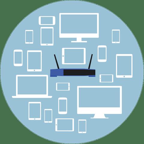 VPN yönlendiriciye bağlı çeşitli cihazlar.