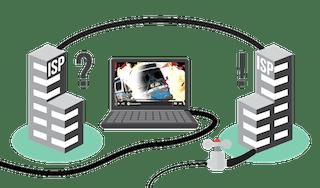 Wie Sie Peering-Konflikte mit einem VPN umgehen: Abbildung, die einen Internetanbieter zeigt, der das Video aufgrund des Peerings nicht verlangsamen kann.