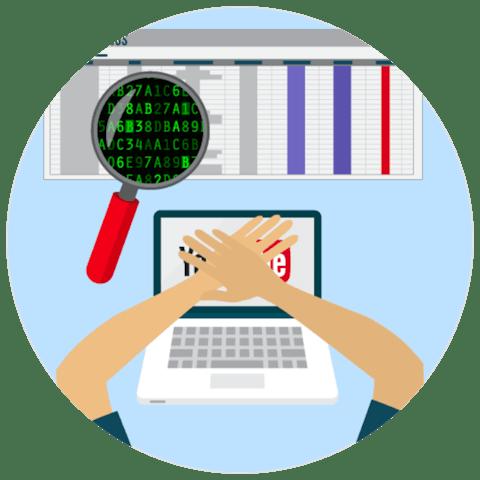 プライベートを維持するためにノートパソコンの画面をカバーする手。