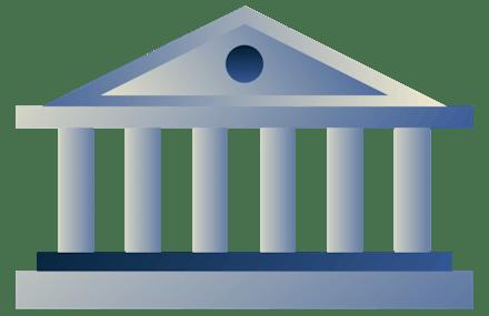 Edificio gubernamental con pilares.