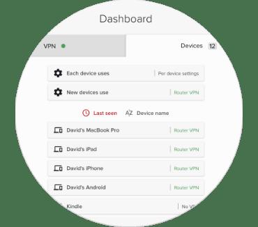 Interfejs ExpressVPN dla routerów przedstawiający urządzenia, które są podłączone i niepodłączone do VPN.