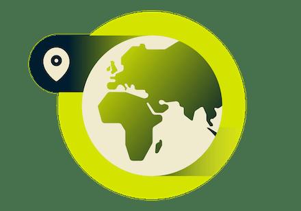 VPN-sijainteja Euroopan ja Afrikan kartalla.
