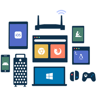 How to download VPN: Silhouettes of Windows and Mac computers and laptops, iPhones, iPads, routers, smart TVs, and game consoles.