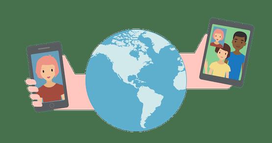 VoIP VPN: Händer utsträckta från en jordglob som håller telefoner med videosamtal.