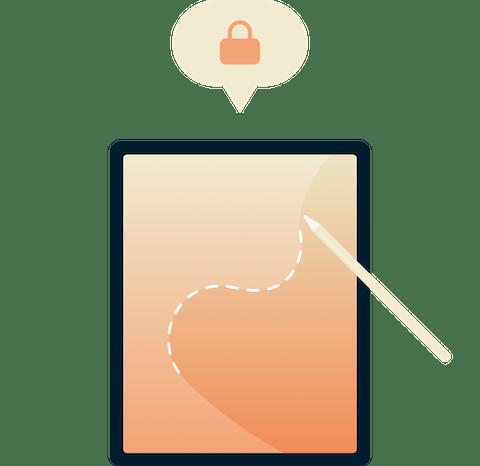 VPN接続スクリーンを表示するiPad上のExpressVPNアプリ UI。