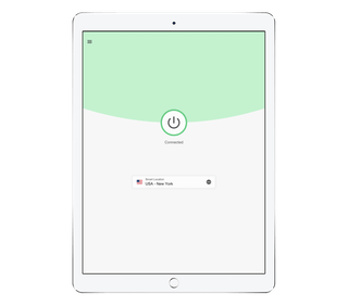 ExpressVPN app UI on an iPad, showing VPN connected screen.