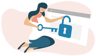 Women unlocking padlock on browser.