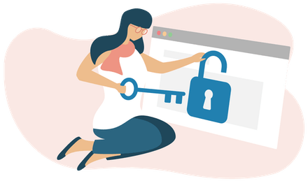Kvinna låser upp ett hänglås på en webbläsare.