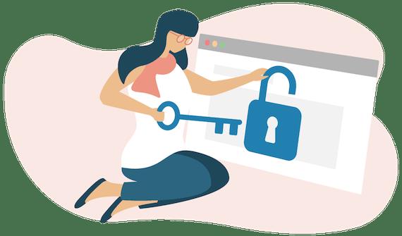 Women unlocking padlock on browser.