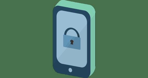 Telefonsikkerhet: En mobiltelefon med et låseikon.