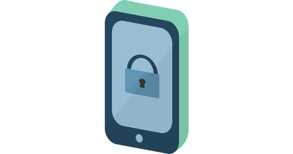 Phone security: A mobile phone with a padlock icon.
