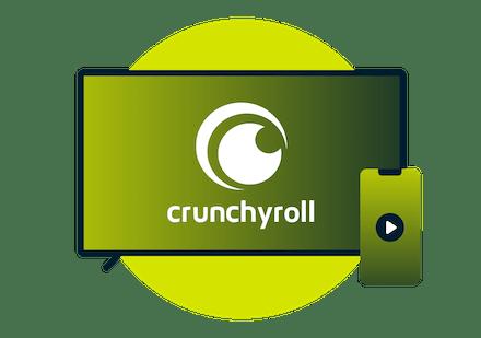 Television screen with Crunchyroll logo.