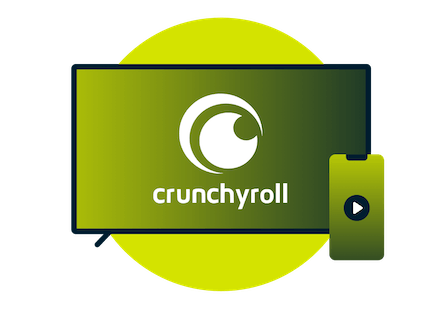 Television screen with Crunchyroll logo.